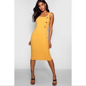 Boohoo Square Neck Button Midi Dress